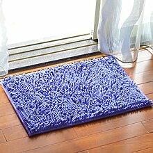 Chenille Schlafzimmer Teppich Kaffetisch Sofa Badezimmer Rutschfeste Matte Küche Wasseraufnahme Teppich Türmatten , deep purple , 40*60cm