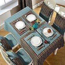 Chenille Streifen Tischdecke Fleck-beständig Und Verschleiß-resistent Waschbares Abendessen Picknicktisch-B 140x180cm(55x71inch)