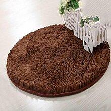 Chenille Teppich Wohnzimmer Schlafzimmer Türmatten Küche Teppich Wasseraufnahme Fußpolster Badezimmer Rutschfest Teppich , brown , 80*80cm