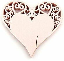 CHENXI Shop 50Herz Form Schnitt Perlglanz-Papier Hochzeit Tischkarten Weinglas Party Zubehör rose