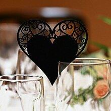 CHENXI Shop 50Herz Form Schnitt Perlglanz-Papier Hochzeit Tischkarten Weinglas Party Zubehör schwarz