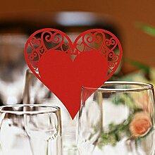 CHENXI Shop 50Herz Form Schnitt Perlglanz-Papier Hochzeit Tischkarten Weinglas Party Zubehör ro