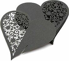 CHENXI Shop 50Herz Schnitt Perlglanz-Papier Hochzeit Tischkarten Weinglas Party Zubehör schwarz