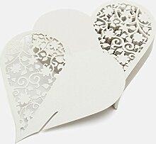 CHENXI Shop 50Herz Schnitt Perlglanz-Papier Hochzeit Tischkarten Weinglas Party Zubehör silber