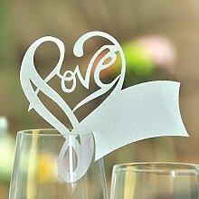 CHENXI Shop 50Love Form Hochzeit Namen Tischkarten Weinglas Cut Perlglanz-Karten Party Zubehör silber
