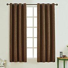 Cherry Home Verdunkeln isoliert Flachs Leinen Blackout Tülle Fenster Vorhang für Wohnzimmer, braun, 117cm x 183cm