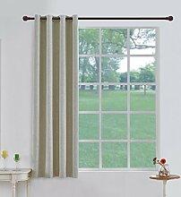 Cherry Home Verdunkeln isoliert Flachs Leinen Blackout Tülle Fenster Vorhang für Wohnzimmer, beige, 117cm x 183cm