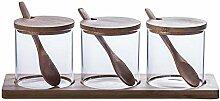 Chersley Glas Gewürzglas Set, Küchensalzschale