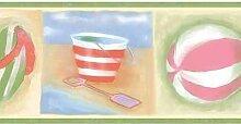 Chesapeake Beach-Flip Flops Ball Chair Regenschirm Eimer und Schaufel grün blau rot Beige Tapetenrand für Badezimmer, Kinderzimmer, Roll-15' x 5''