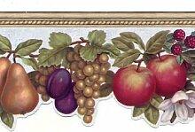 Chesapeake Tapete Grenze Frucht mit Faux Holz Trim