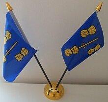 Cheshire County (2Flagge Desktop Tisch mit Gold Boden
