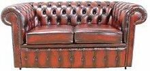 Chesterfield 2er Sofa, Bett, Antik, Ochsenblutro