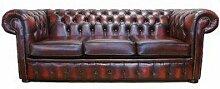 Chesterfield 3-Sitzer-Sofa Bett Antik Oxblood