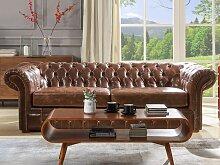 Chesterfield Ledersofa 3-Sitzer CLOTAIRE - Vintage