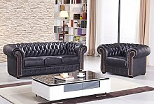 Chesterfield Mikrofasersofa Mikrofasercouch antik Chesterfield-3+1-MS