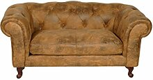 Chesterfield Rom 2 Sitzer beige Lederoptik Textil