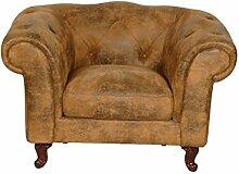 Chesterfield Rom Sessel beige Lederoptik Textil