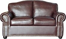 Chesterfield Sir Ledersofa 2 Sitzer Braun Sofa