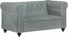 Chesterfield-Sofa 2-Sitzer Grau Echtleder 36258 -