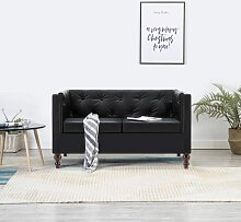 Chesterfield-Sofa 2-Sitzer Kunstlederbezug Schwarz