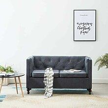 Chesterfield-Sofa 2-Sitzer Stoffpolsterung Grau