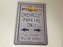 Chevrolet parking only - Blechschild 20x30 cm Parkplatz Garage Carport Schild 14
