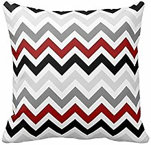 Chevron Pattern - Dark Red,Black and Gray Zig Zag Design Pillow Classic Stripes Pattern For Decoration Pillow Case Zipper Pillow Cover Brief Design Pillowcase Cover