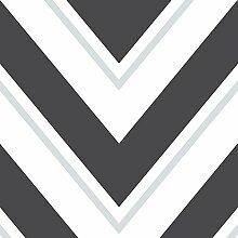 Chevron Rasch Tapete - schwarz und weiß - 304107