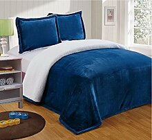 Chezmoi Collection Micromink Sherpa Wendedecke Decke (King, Marineblau)