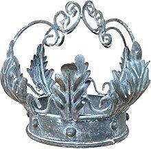 Chic Antique Königskrone antique grau Landhaus Shabby chic Dekoration Metall