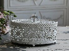 Chic Antique Metall Deko-Dose (Fil de fer Box antique weiß)