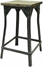 Chic Antique Metall-Holz Hocker, Industriedesign,