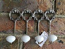 Chic Antique Wandhaken 4er Set Metall antik Silber