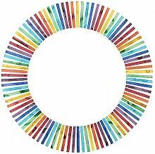 Chic Bunte Sommer-Streifen-Regenbogen-Mosaik-Fliesen Runder Spiegel 40Cm Wandbehang
