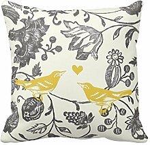 Chic Gelb und Grau Vintage Blumen und Vogel Muster Überwurf Kissen dekorativer Überwurf-Kissenbezug Kissenbezüge Kissenbezug, quadratisch für Home oder Sofa 45,7x 45,7cm One Side by acelive Kissenbezüge