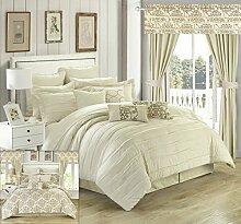 Chic Home 24Stück Hailee komplett Plissee Rüschen und beidseitig bedruckt Bett in einem Beutel Tröster Set mit Fenster Behandlung, Queen, beige