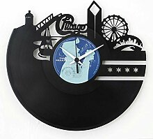 Chicago (amerikanische Stadt) Geschenkidee Vinyl Schallplatten- Uhr Schwarz Vinyl original