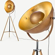 Chicago Tripod-Stehlampe, Kupfer und Gold -