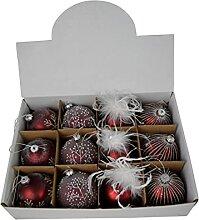 CHICCIE 4X Weihnachtskugeln Rot Glas 8cm -