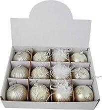 CHICCIE 4X Weihnachtskugeln Weiß Glas 8cm -