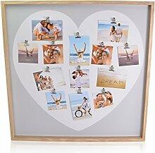 CHICCIE Bilderrahmen Holz Foto Collage Herz mit 13