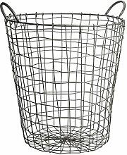 CHICCIE Draht Korb 47cm hoch - Wäschekorb - Kaminkorb Mülleimer Gitterkorb Metall
