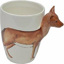 CHICCIE Keramikbecher mit 3D Fuchs - 11cm - Kaffeebecher Teetasse Teebecher Elch Reh Mit Fuchs