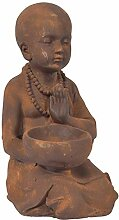 CHICCIE Polyresin Shaolin Mönch Figur Antik Braun