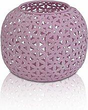 CHICCIE Rosa Windlicht aus Metall mit Glaseinsatz