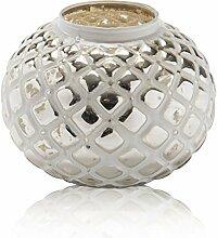 CHICCIE Silber Glas Windlicht - Teelichthalter Raster Kerzenhalter Gold edel rund Kugel