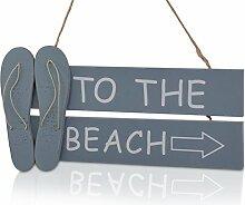 CHICCIE Sommer Hängeschild To The Beach - Blau - Dekoschild