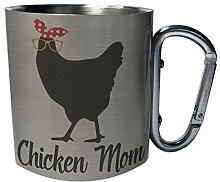Chicken mom Edelstahl Karabiner Reisebecher 11oz