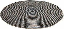 chickidee Homeware handgewebter und geflochtener Jute-Teppich, rund, groß, blau