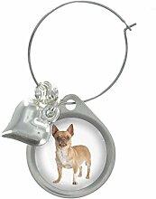 Chihuahua Hund Bild Design Weinglas Anhänger mit schicker Perlen